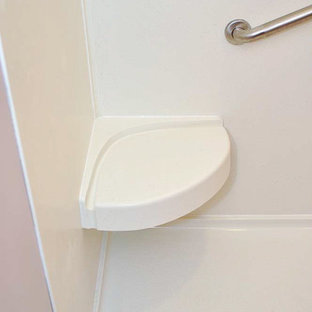 Traditional Handicap accessible bath remodelw/brownstain vanity&medicine cabinet
