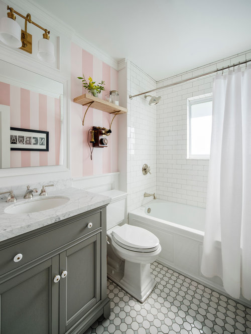 Bath design ideas pictures remodel decor with gray for Pink and gray bathroom sets