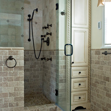Traditional in Travertine Master Bath
