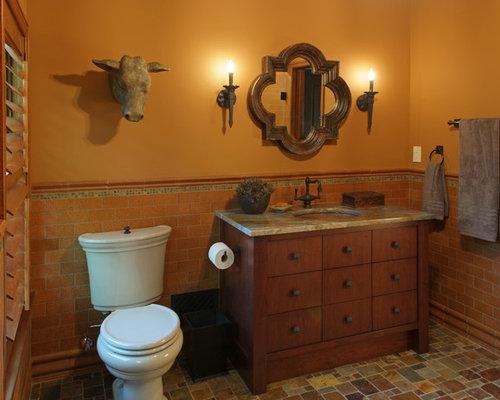 salle d 39 eau avec une douche l 39 italienne et des carreaux en terre cuite photos et id es d co. Black Bedroom Furniture Sets. Home Design Ideas