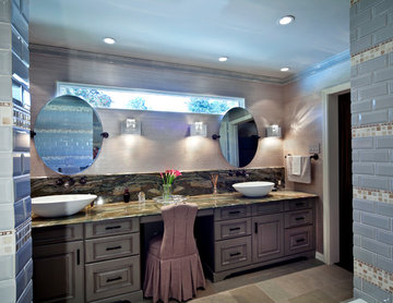 Traditional Master Bath with Her Make-up Area