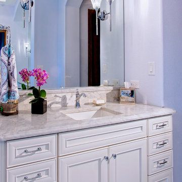 Traditional Master Bath with Painted White Cabinets & Carrera Marble