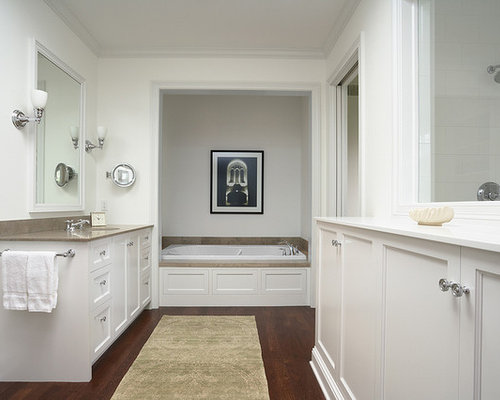Traditional Bathroom Idea In Minneapolis With An Alcove Tub And Dark