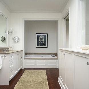 Alcove bathtub - traditional dark wood floor alcove bathtub idea in Minneapolis