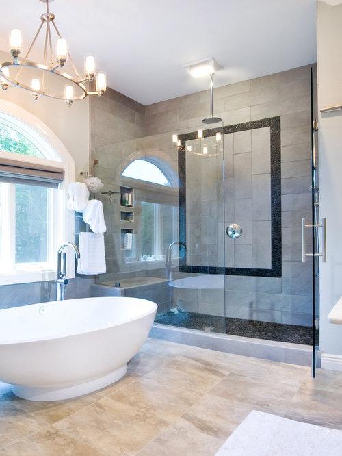 Contemporary Gray Tile Bathroom Idea In Charleston Part 33