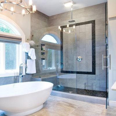 Bathroom - contemporary gray tile bathroom idea in Charleston