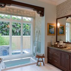 Transitional Bathroom by deakins design group