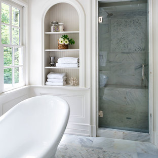 Bathroom - traditional master white tile mosaic tile floor bathroom idea in Atlanta with white walls