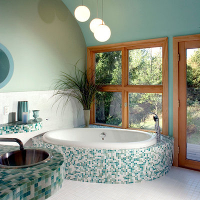 Example of a minimalist mosaic tile bathroom design in Milwaukee with turquoise countertops