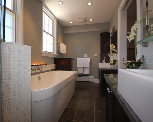 Narrow Bathroom Design Ideas Renovations Photos With Slate Floors