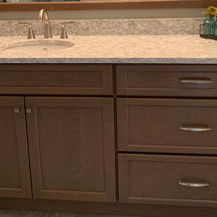 Transitional Aroma Stain finishes vanity w/ Berwyn Quartz Countertop
