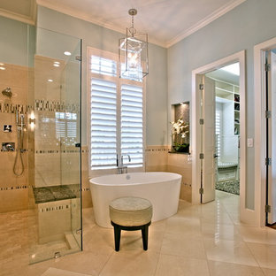 Design ideas for a traditional bathroom in Dallas with a freestanding bath.