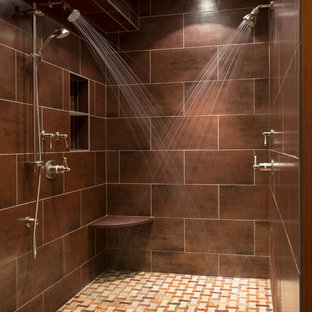 Double shower - transitional double shower idea in Boston