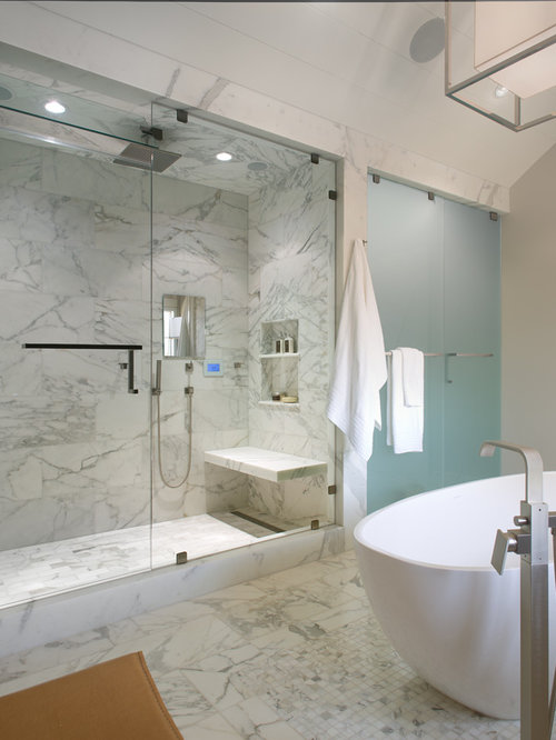 Transitional Master White Tile And Stone Marble Floor Bathroom Idea In San Diego With An