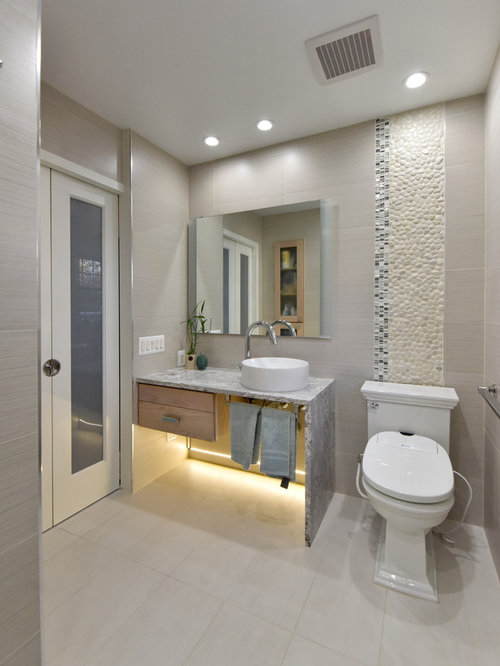 Inspiration For A Transitional Beige Tile, Black And White Tile And Pebble  Tile Gray Floor