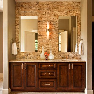 Bathroom - transitional bathroom idea in Portland with granite countertops