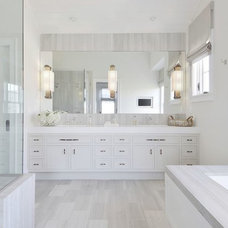 Transitional Bathroom by Val Florio AIA Architect