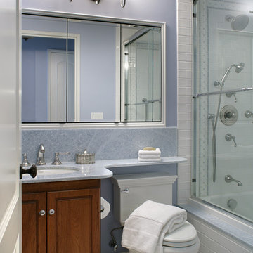 Transitional Bathroom in Blue