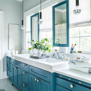 Transitional kids' porcelain floor and gray floor bathroom photo in Atlanta with gray walls, engineered quartz countertops, shaker cabinets and blue cabinets