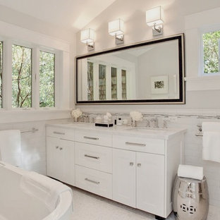 Gentil Transitional White Tile And Subway Tile Freestanding Bathtub Photo In San  Francisco With An Undermount Sink