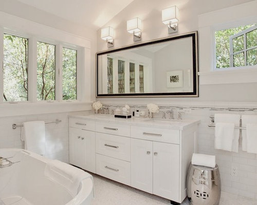 Transitional White Tile And Subway Freestanding Bathtub Photo In San Francisco With An Undermount Sink