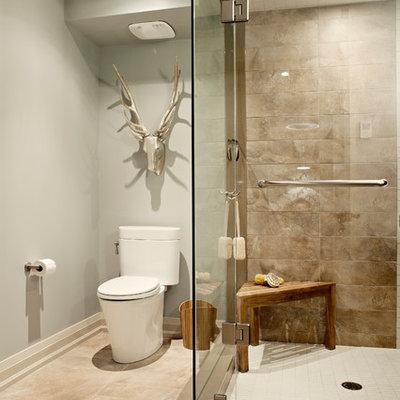 Corner shower - transitional beige tile corner shower idea in Toronto