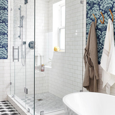 Bathroom - transitional master gray tile, white tile and subway tile mosaic tile floor bathroom idea in Toronto with multicolored walls and a hinged shower door