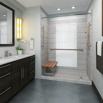 Transitional Bathroom walk in shower wood grab bar accessible shower
