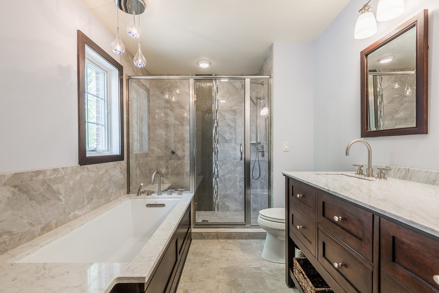 Transitional Bathroom with Modern Twist Champaign
