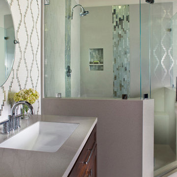 Transitional bathroom with mosaic design