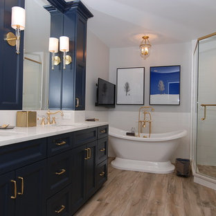 Transitional Blue Master Bath Renovation in Northbrook, IL