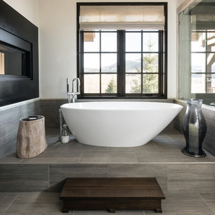 Inspiration for a mid-sized contemporary master gray tile and porcelain tile porcelain tile and gray floor bathroom remodel in Other with white walls and a hinged shower door