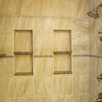 Transitional Brazilia Bathroom Remodel with Brushed Bronze Plumbing Fixtures