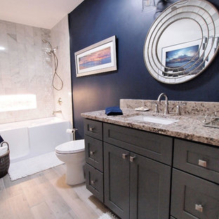 75 most popular bathroom with blue walls and vinyl