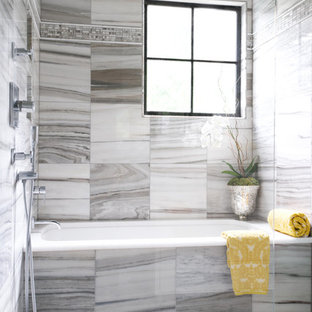Example of a mid-sized trendy master multicolored tile and marble tile marble floor and multicolored floor bathroom design in Other with an undermount tub, shaker cabinets, a two-piece toilet, an undermount sink, marble countertops and multicolored walls