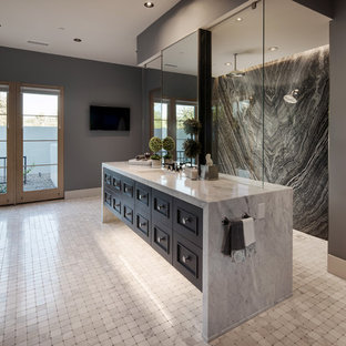 Country master black and white tile and stone slab marble floor and white floor bathroom photo in Phoenix with recessed-panel cabinets, black cabinets, gray walls, an undermount sink and gray countertops