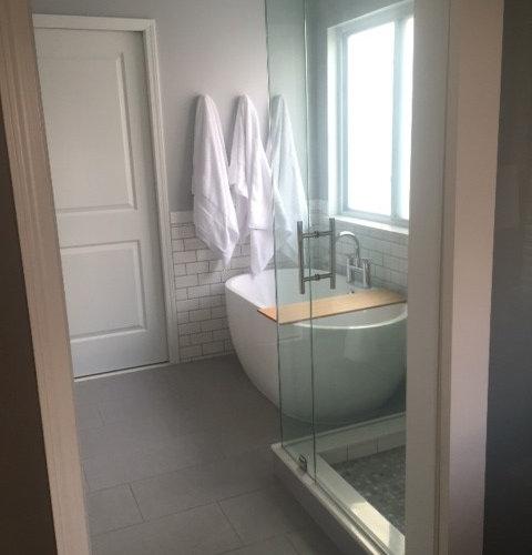 Transitional Grey White Master Bath