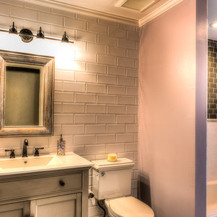 75 most popular orange bathroom with black and white tiles