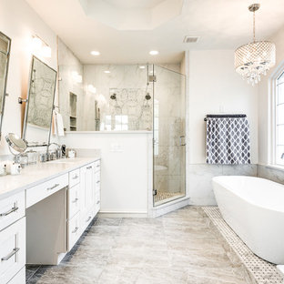Transitional Home remodeling - White Bathroom