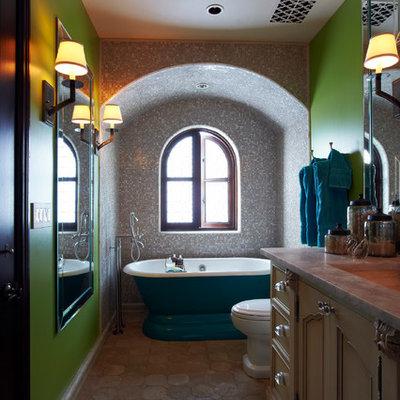 Inspiration for a mediterranean freestanding bathtub remodel in Phoenix