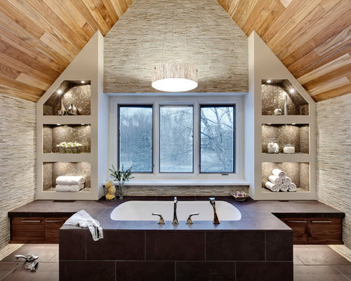Inspiration For A Contemporary Gray Tile And Matchstick Tile Bathroom  Remodel In Chicago With Flat