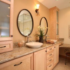 Transitional Bathroom by Traci Rauner Design