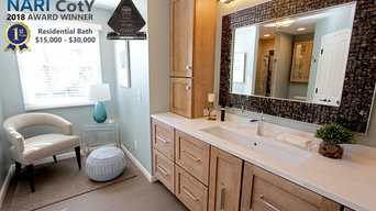Transitional Masterbath with large sink, custom tiled shower and sitting area