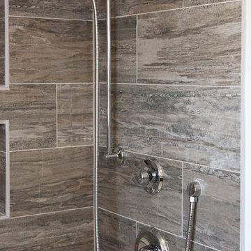 """Transitional meets Rustic"" Dunwoody Guest Bathroom"