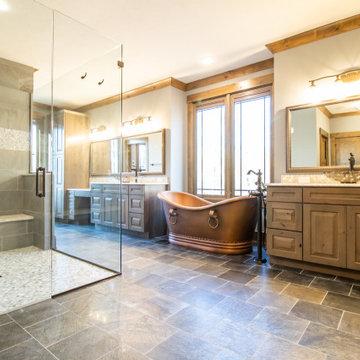 Transitional Rustic Custom Home-Master Bath, Copper soaktub, Double Shower