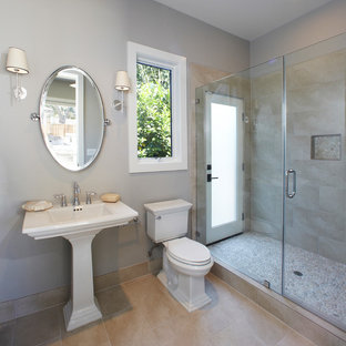 Design ideas for a transitional bathroom in San Francisco with a pedestal sink.