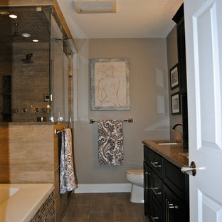 Transitional Steam Shower and Spa Master Bath