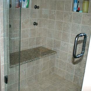 Transitional Tile Shower Master Bathroom Remodel w/ Granite Shower Seat