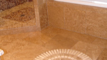 Travertine bathroom