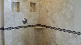 Travertine master bath